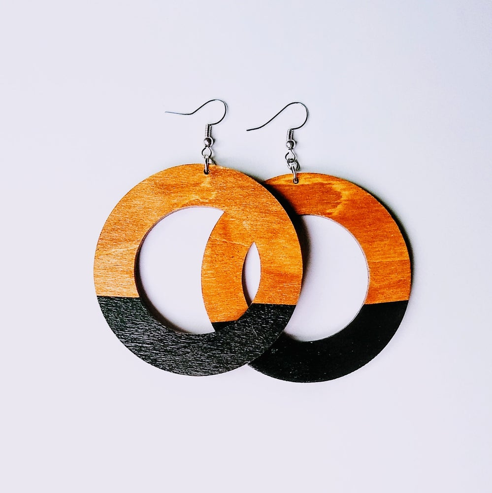Image of Color Block Wood Hoop Earrings