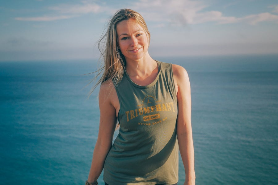 Image of Triumphant Womens Flowy Scoop Muscle Tank- Military Green