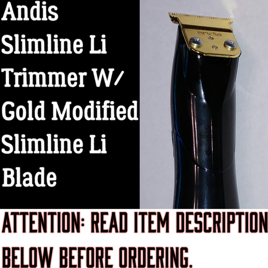 "Image of (3 Week Delivery/High Order Volume) Black Andis Slimline Pro Li Trimmer W/Gold ""Modified"" Blade"