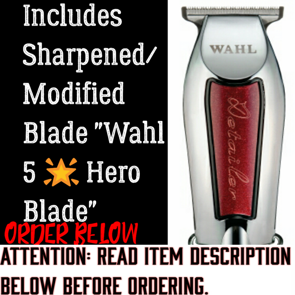 Image of (3 Week Delivery/High Order Volume) Red Wahl Detailer / Includes Modded Wahl 5 Star Hero Blade