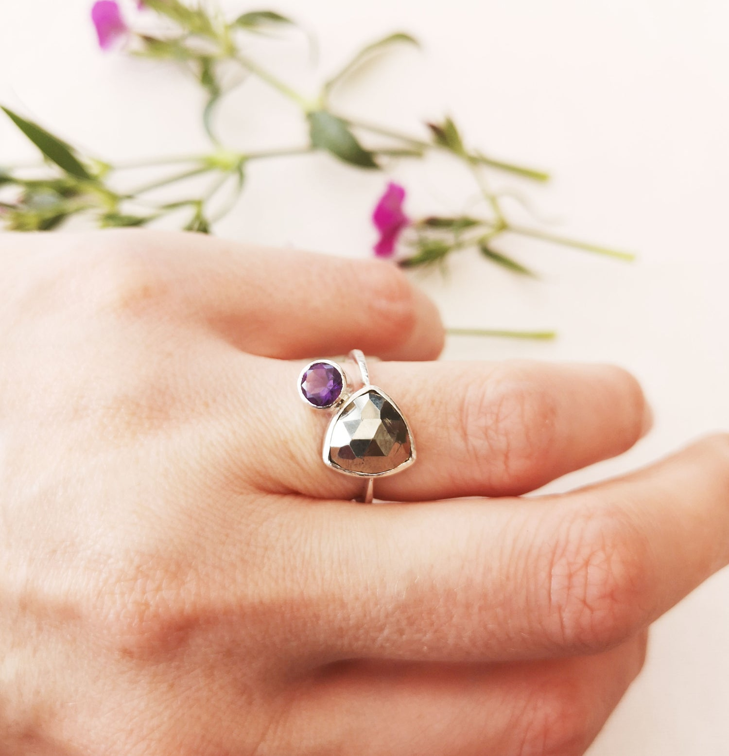 Image of Amethyst and Pyrite Ring