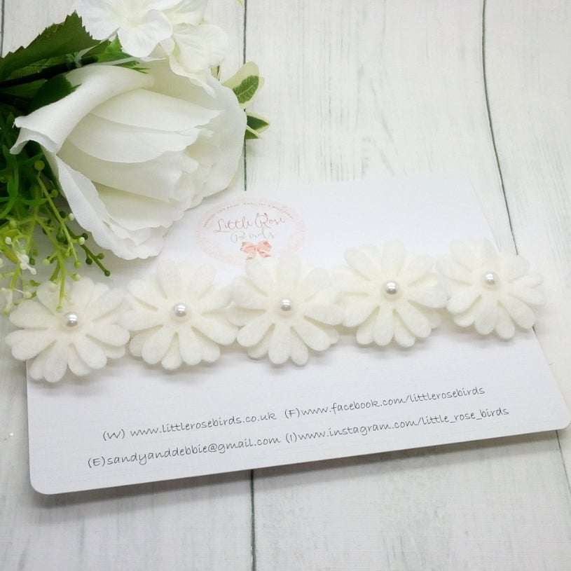 Image of White Daisy & Pearl Flower Headband- Choice of 1, 3 or 5 Daisies