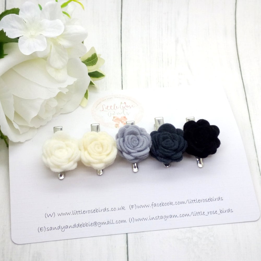 Image of SET OF 5 Mono Rose Headbands or Clips