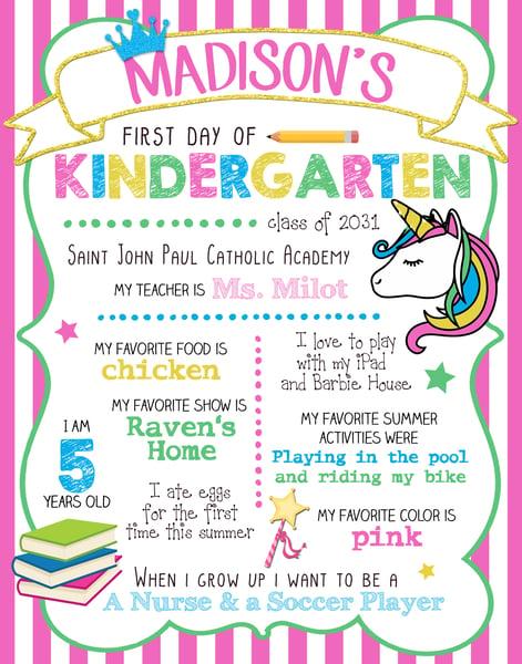 Image of Rainbow Unicorn & Galaxy Back to School Boards