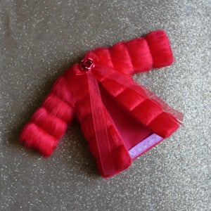 Image of LoungingLinda Panelled Faux Fur ~ Red