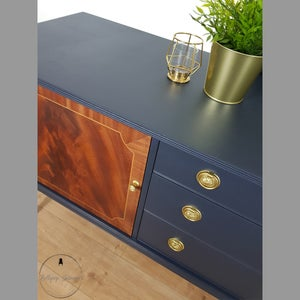 Image of Greaves and Thomas navy sideboard with oiled wooded doors and brass handles