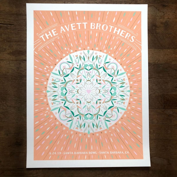 Image of The Avett Brothers Santa Barbara 8.24.2019 White Shimmer Variant