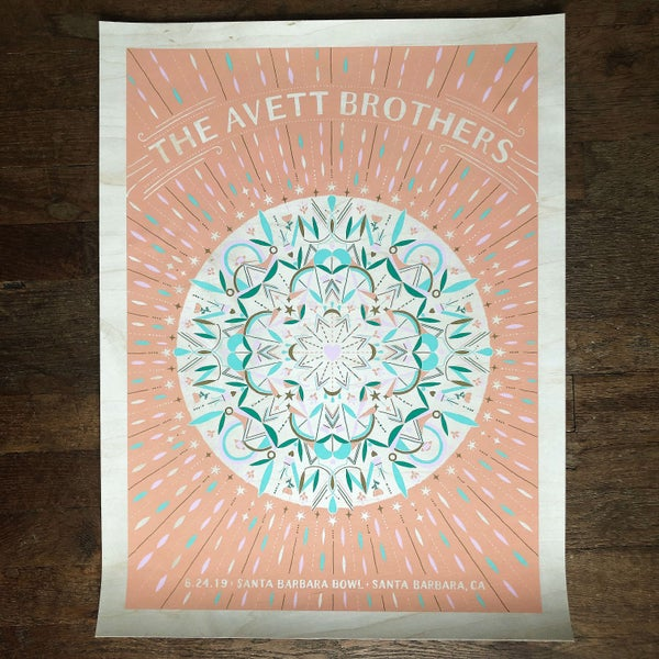 Image of The Avett Brothers Santa Barbara 8.24.2019 Birch Veneer Variant