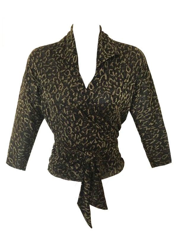 Image of Lurex Cheetah Print Wrap Top