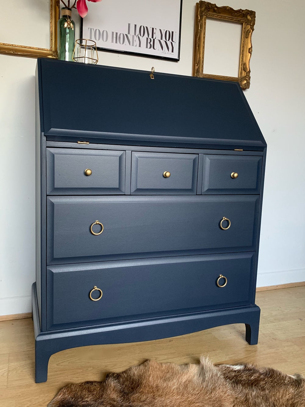 Image of Stunning dark blue bureau desk with key
