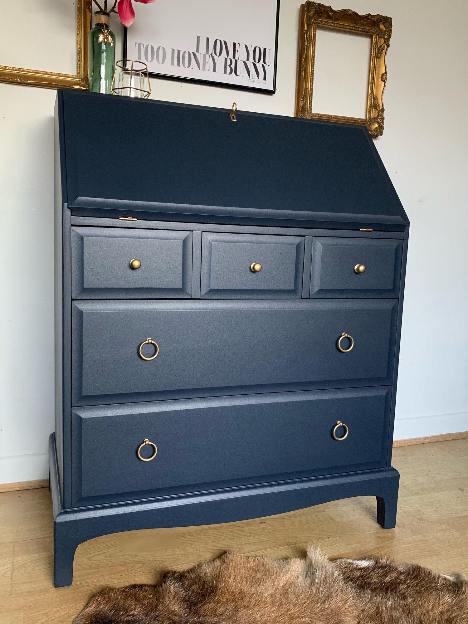 Image of Stunning dark blue bureau desk with key