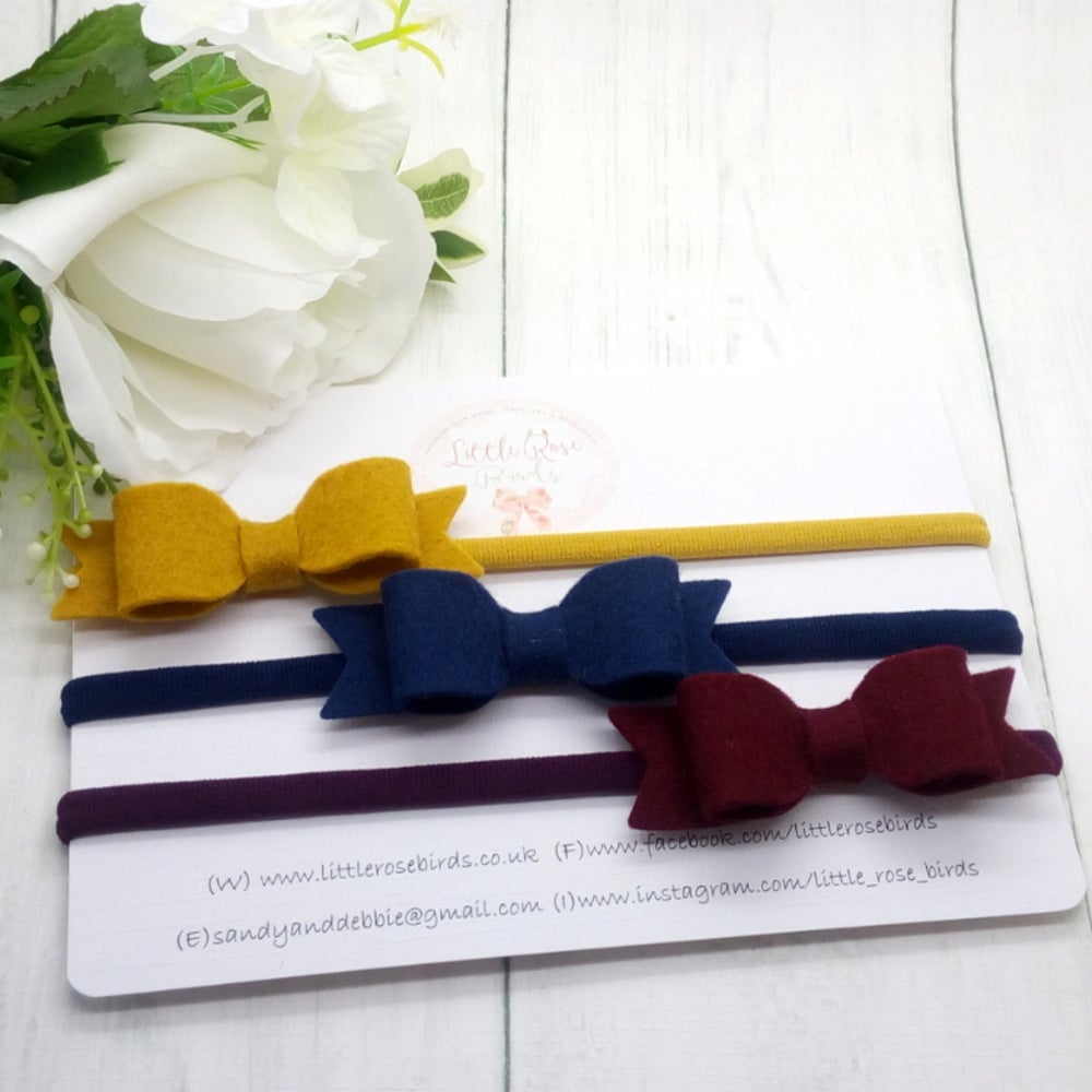 Image of SET OF 3 Bows Mustard/Navy/Burgundy on Headbands or Clips