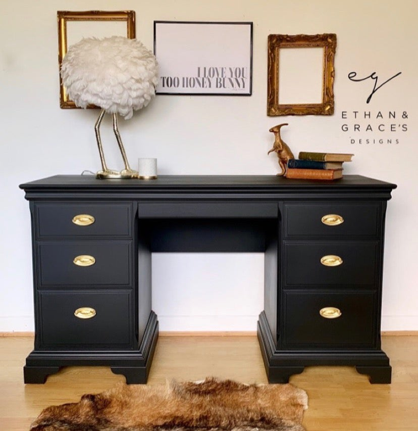 Image of A beautiful black stag mahogany desk / dressing table.