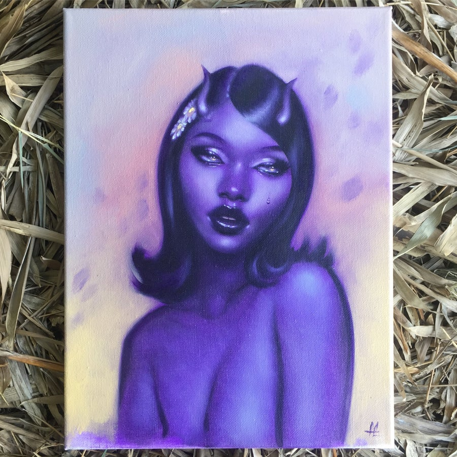 Image of Purple Girl Oil Painting on Canvas