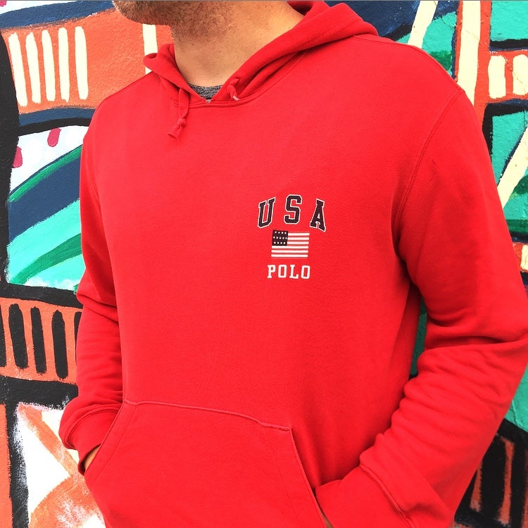 Image of Vintage 1990's Ralph Lauren Polo USA Hooded Sweatshirt Sz.M