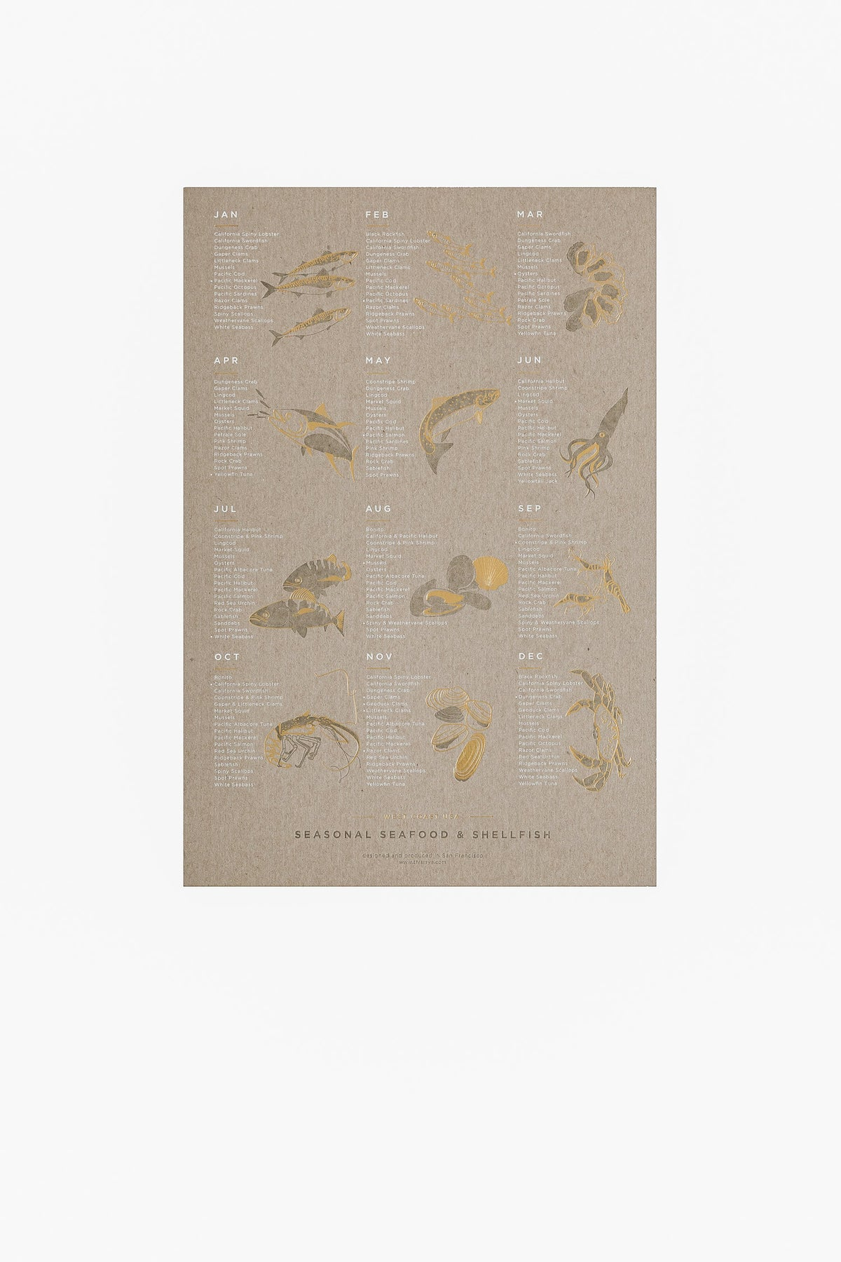 Image of Seasonal Seafood Letterpress Poster