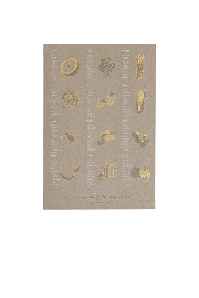 Image of Seasonal Fruit + Vegetable Letterpress Poster