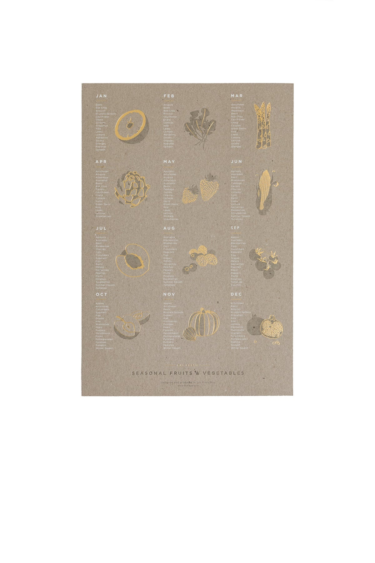Image of Seasonal Fruit + Vegetable Letterpress Poster