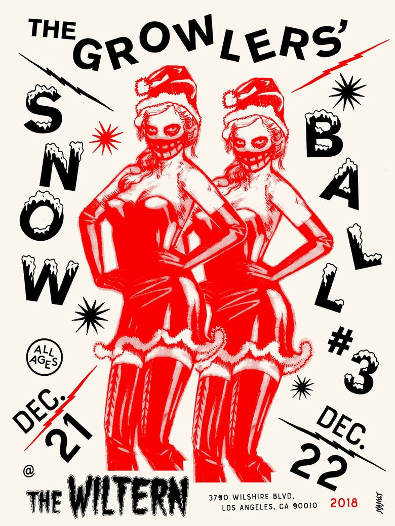 Image of The Growlers Snow Ball #3 Poster, Red.