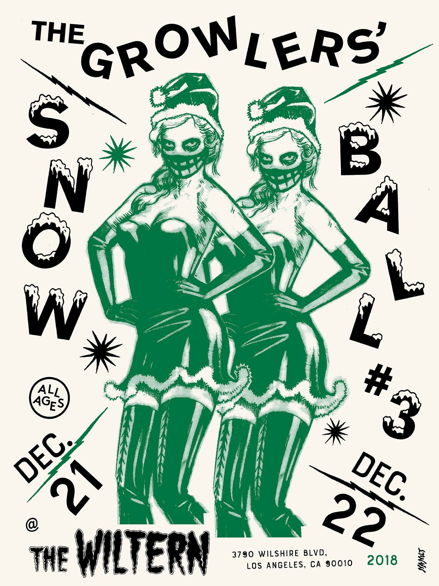 Image of The Growlers Snow Ball #3 Poster, Green.