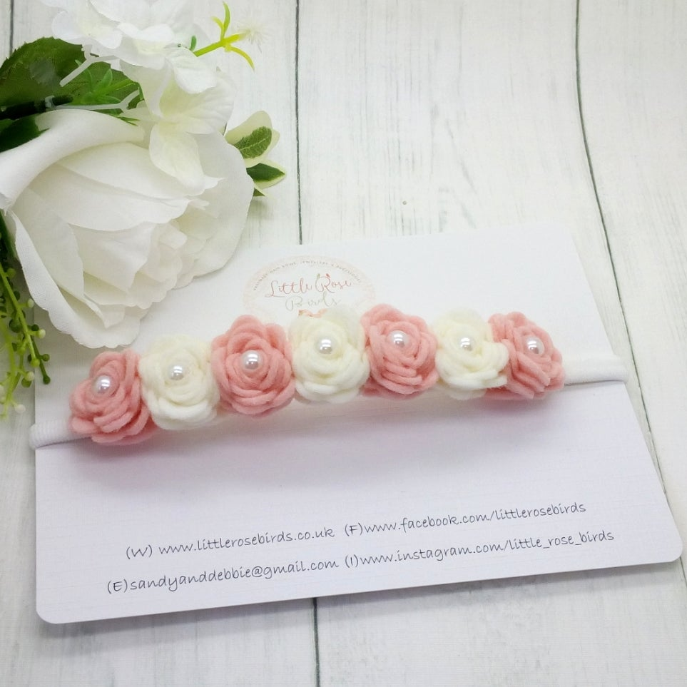 Image of Luxury Blush Pink & White Rose Headband - 7 Rose
