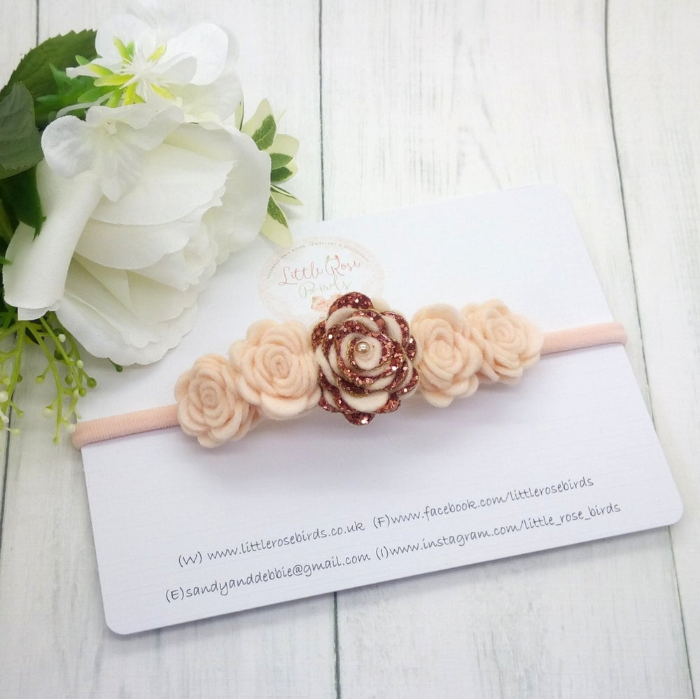 Image of Rose Gold 5 Rose Headband