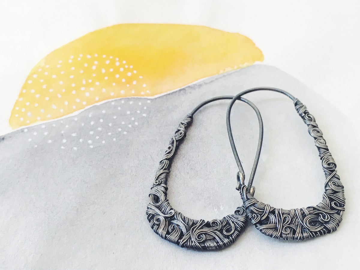 Image of Interlaced Oxidized Silver Hoops