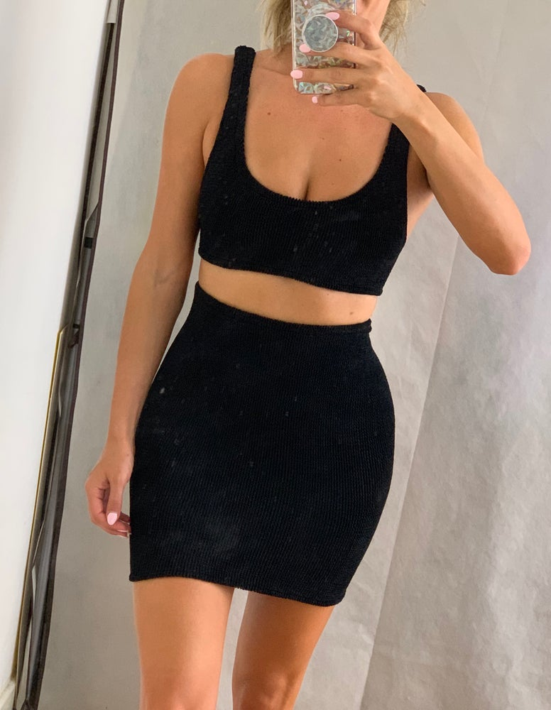 Image of Black Mini Crop Shorts OR Skirt Co-Ord