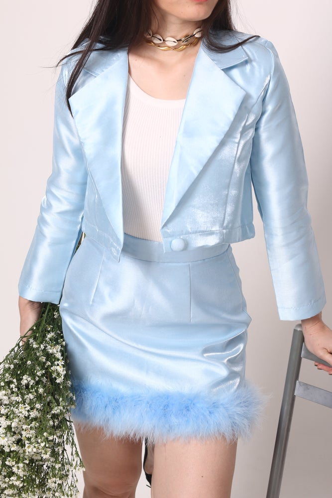Image of Michelle Silk Blazer Set in Blue