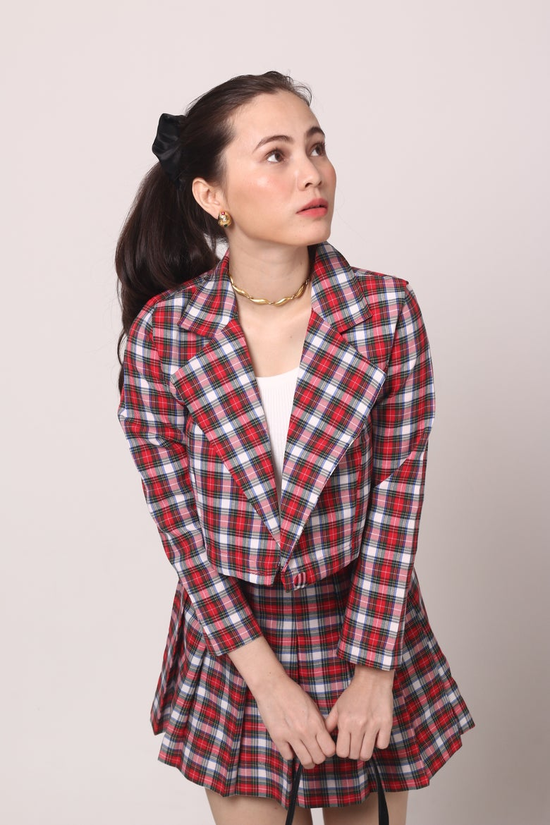 Image of Cher Blazer Set in Red & White Tartan