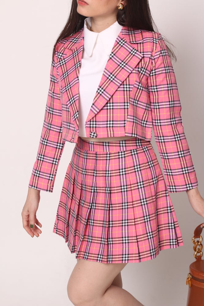 Image of Cher Blazer Set in Pink Tartan