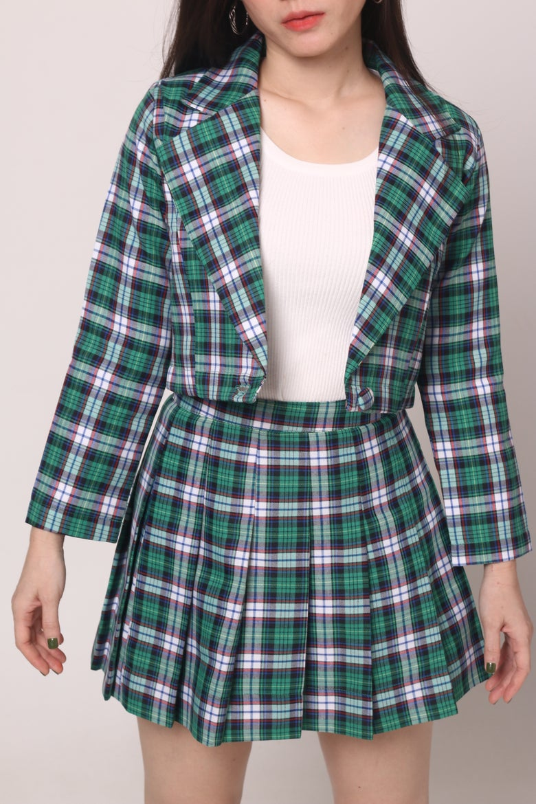 Image of Cher Blazer Set in Green Tartan