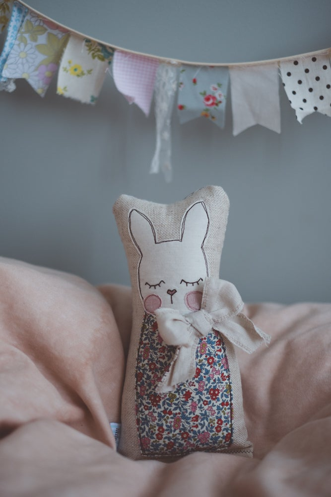 Image of Bunny in liberty floral with natural linen bow