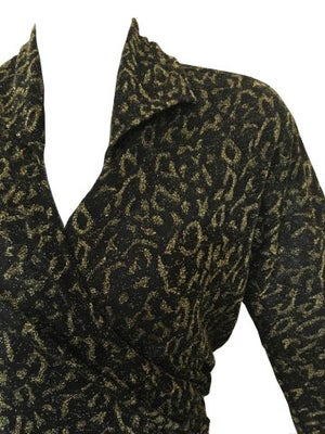 Image of Lurex Cheetah Print Wrap Top