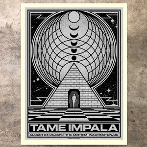 Image of Tame Impala, Washington, DC 2019: Black/Metallic Silver