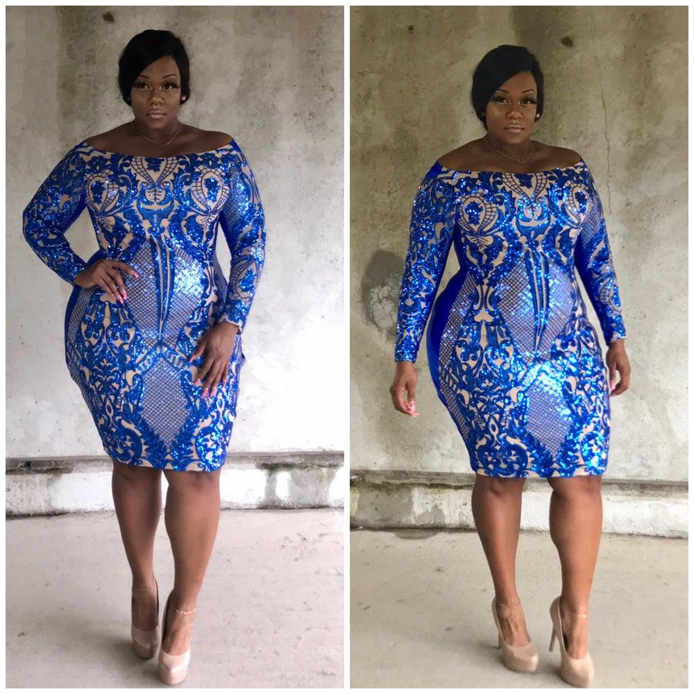 Image of Blue/Nude Off the Shoulder Dress