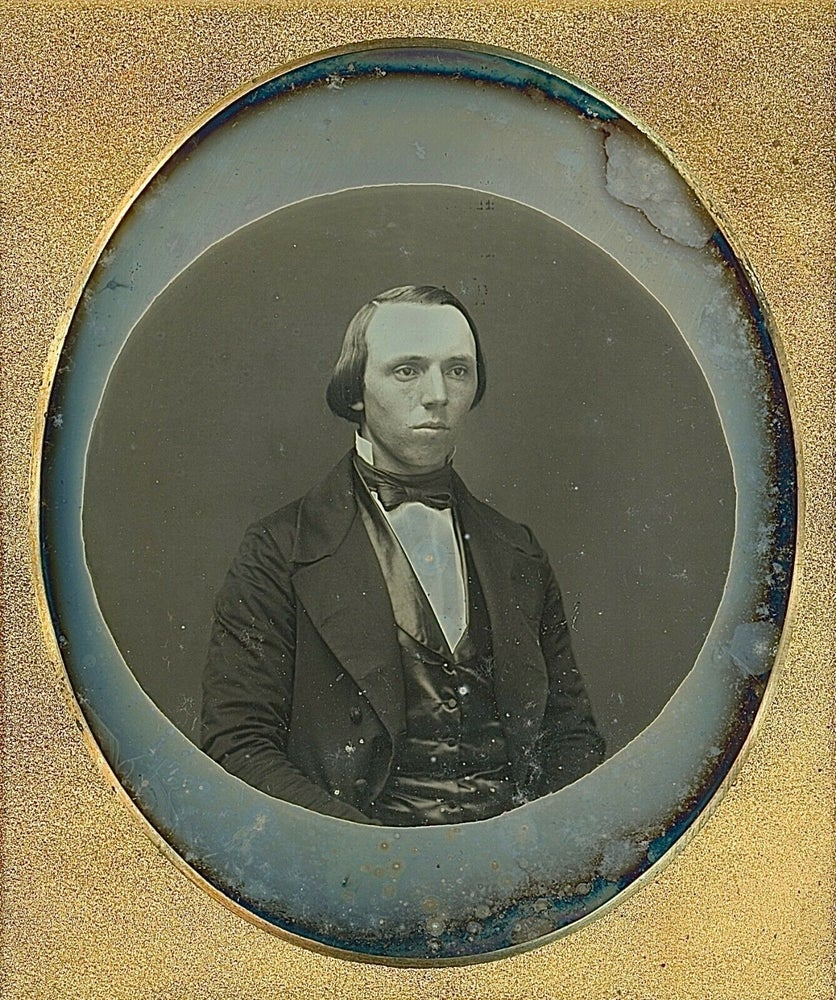 Image of Anonymous: portrait of a man with beautiful vignette, ca. 1855