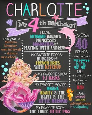 Image of Shark & Mermaid Barbie themed birthday chalkboards