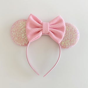 Image of Blush Iridescent Mouse Ears with Bows