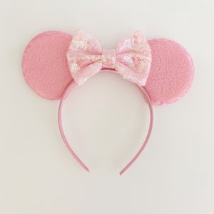 Image of Matte Blush Sequin Mouse Ears with Bow