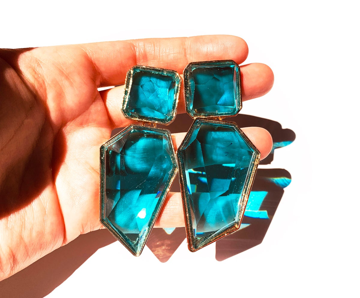 Image of Candy Geo Statement Earrings Aqua
