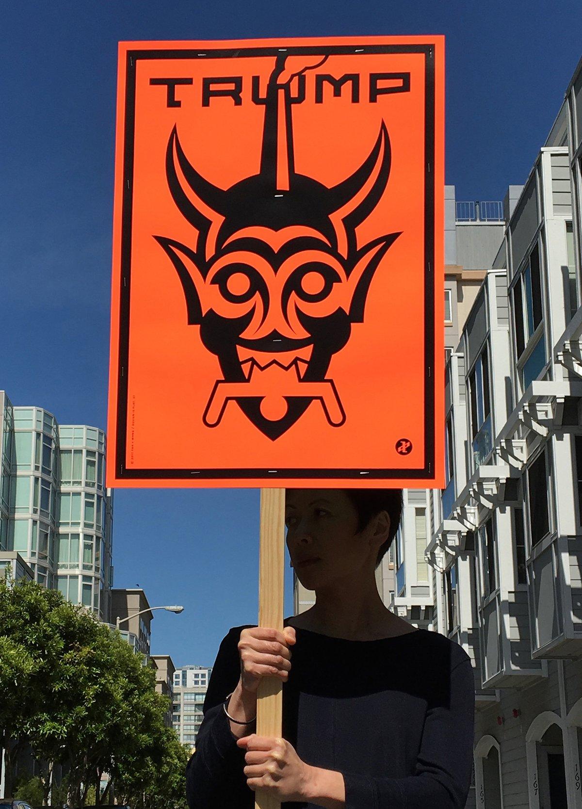 """Image of """"Trump (Moloch)"""" in orange"""