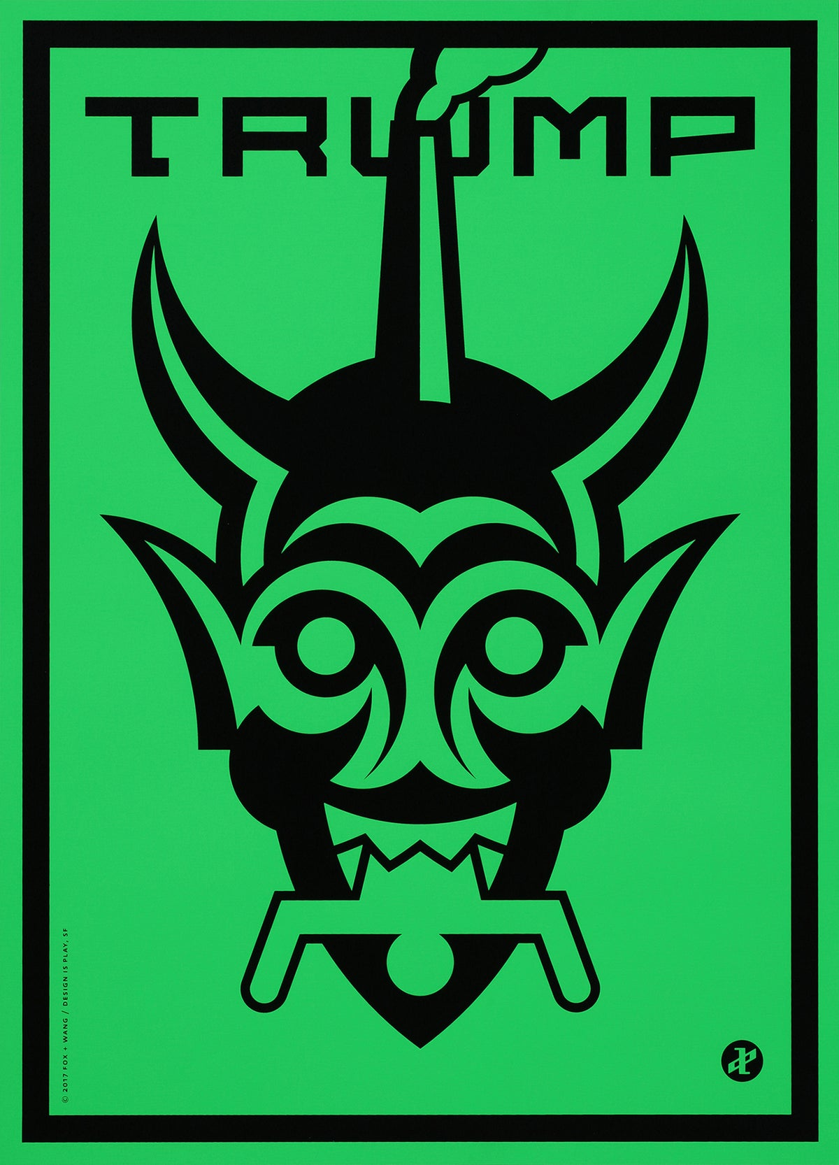 "Image of ""Trump (Moloch)"" in green"
