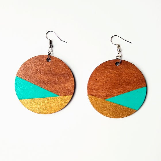 Image of Acrobat Gold Dipped Color Block Earrings
