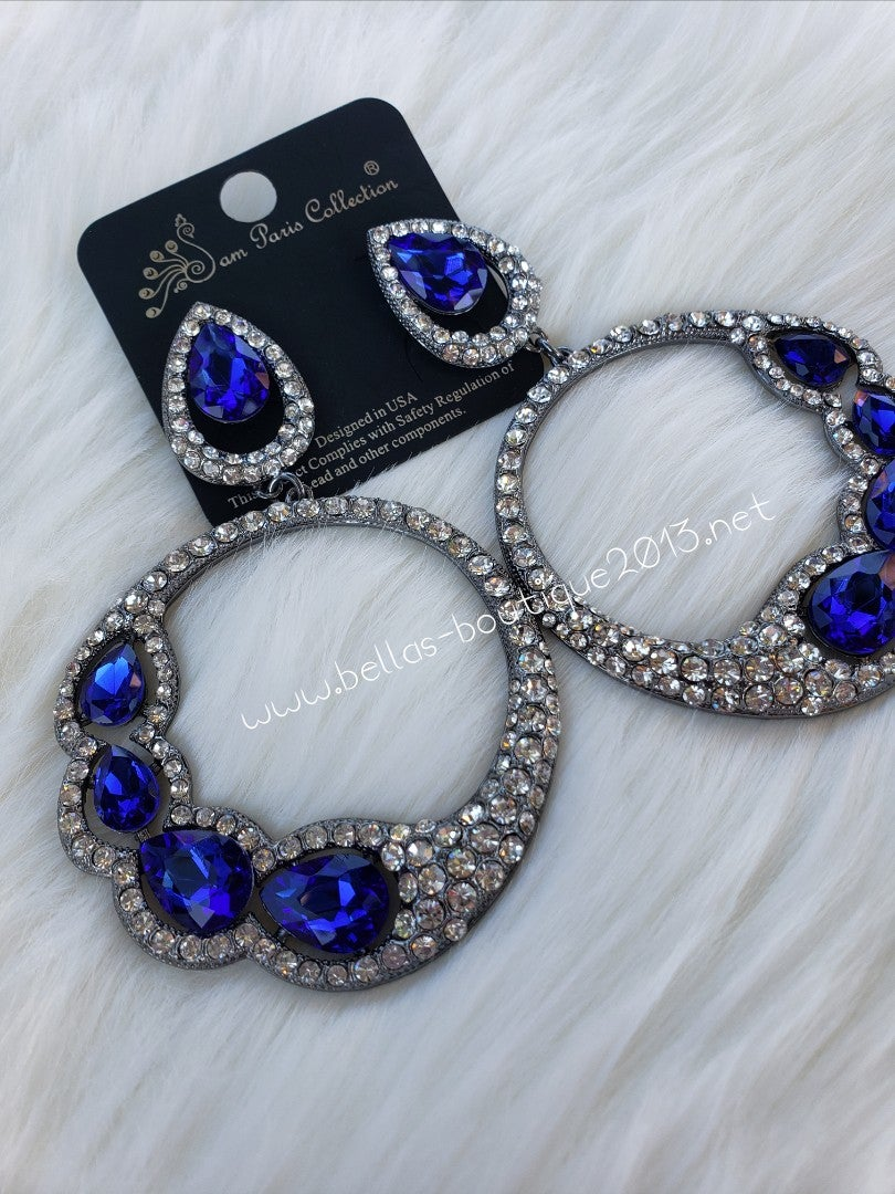 Image of Sapphire Rhinestone Earrings