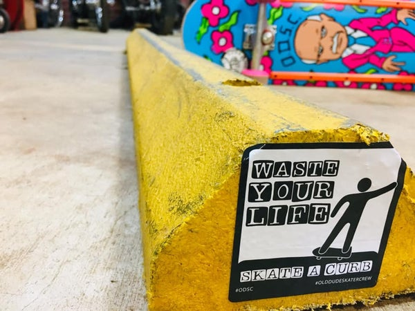 Image of Waste Your Life Skate A Curb  Stickers 4 Pack