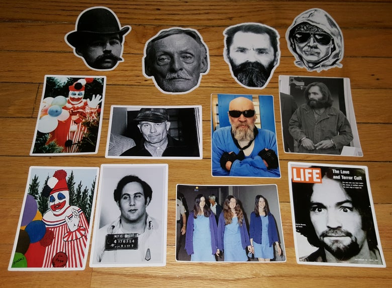 Image of CULT LEADER SERIAL KILLER STICKERS