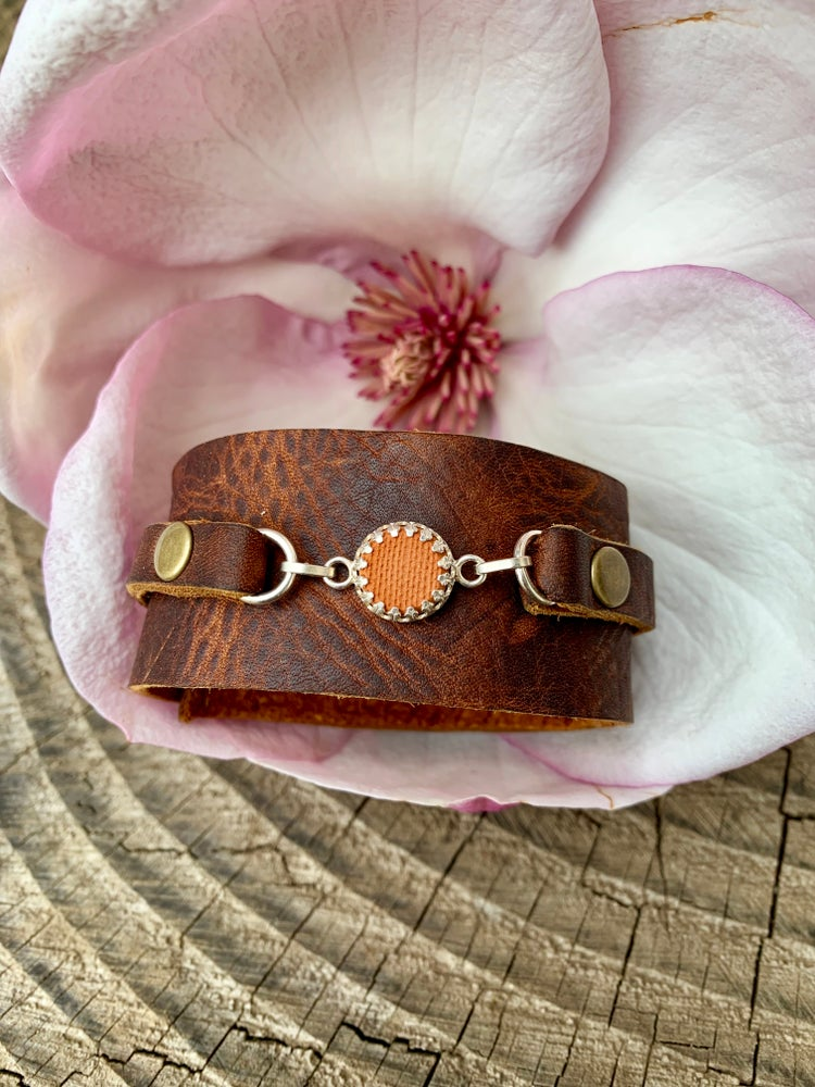 Image of Wide Leather Aromatic Bracelet