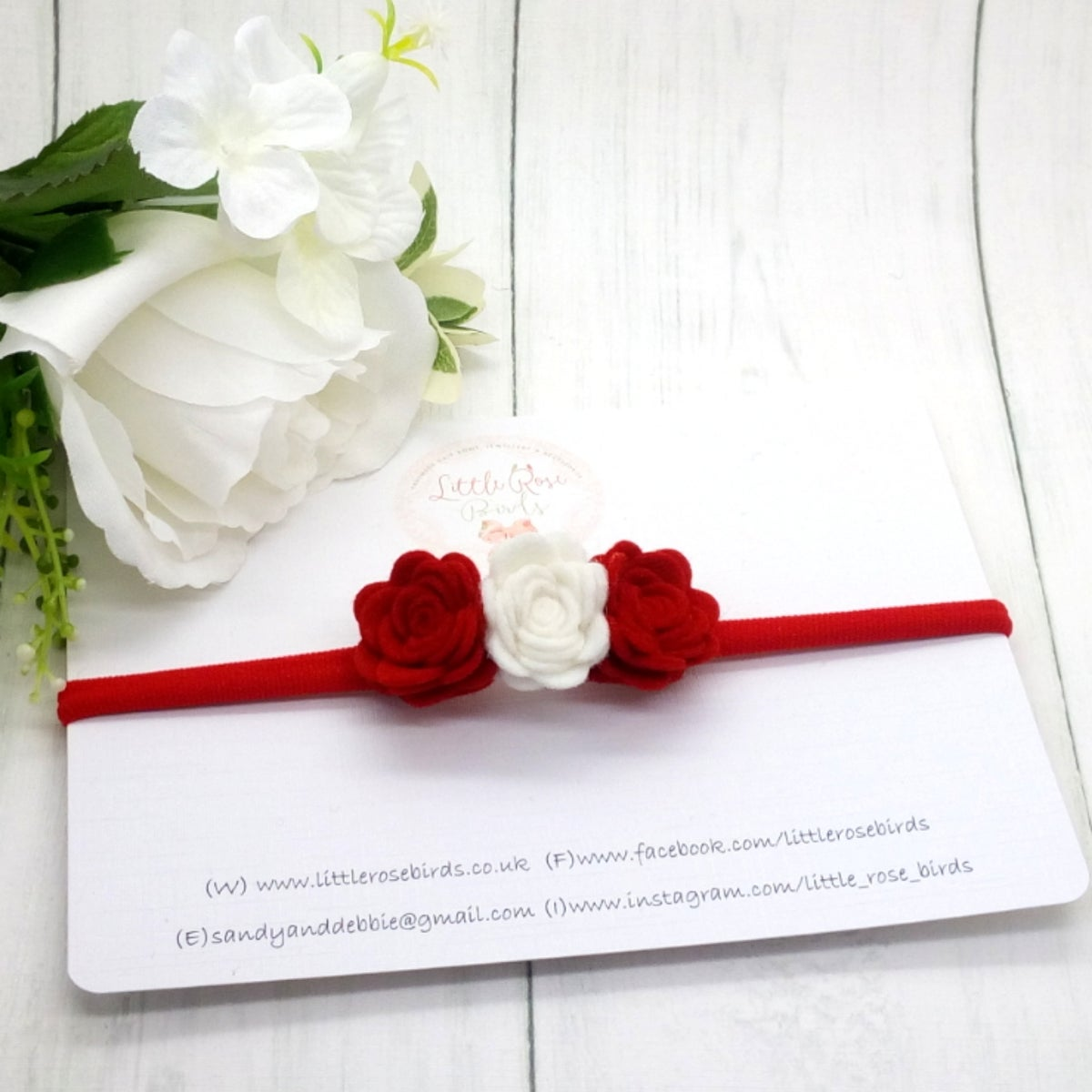 Image of Red & White Small Rose Headband