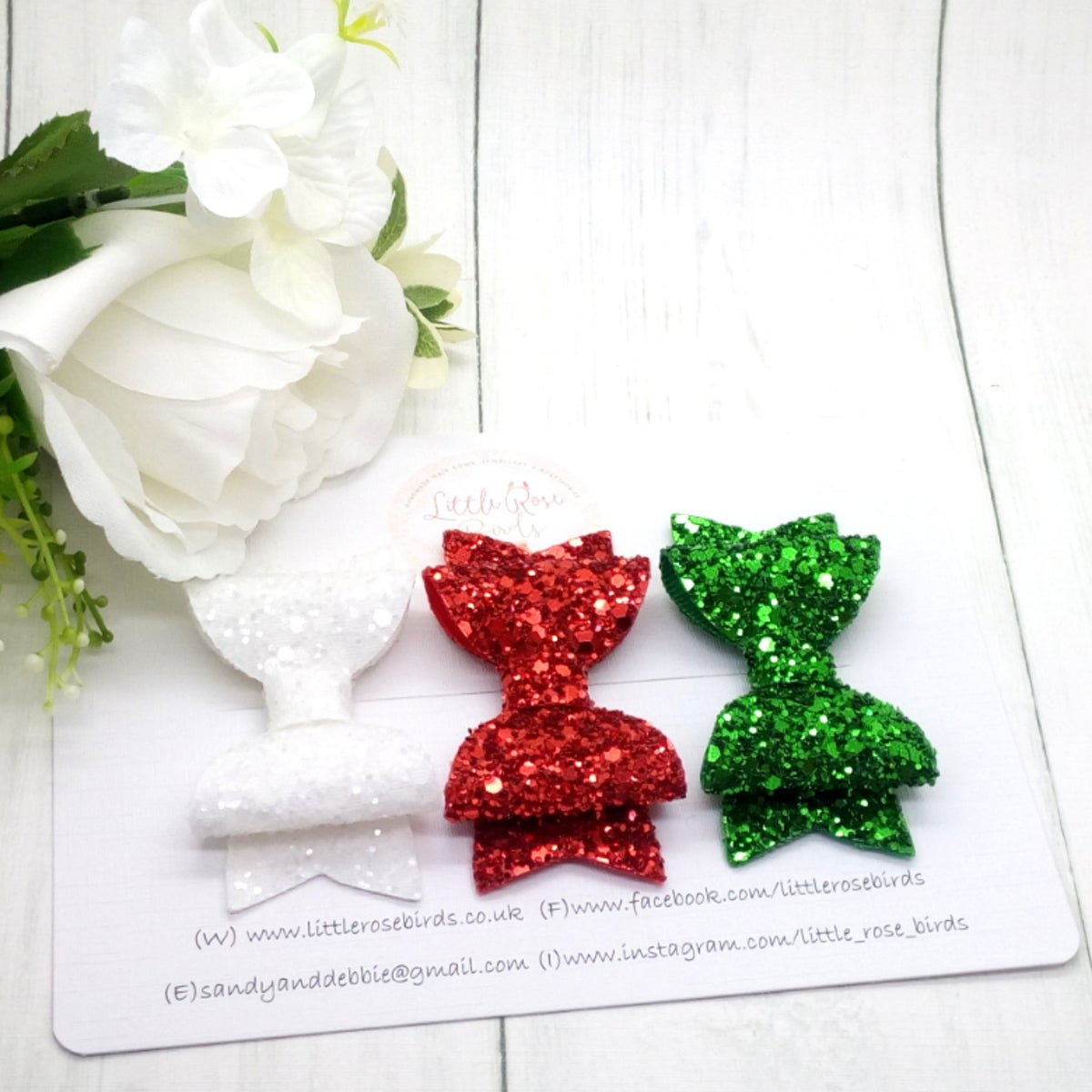 Image of Classic Christmas Glitter Bow Set on Headbands or Clips